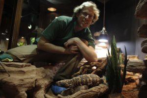 Dierverzorger Dik en een gilamonster, een diersoort dat in winterslaap gaat. Foto: DierenPark Amersfoort